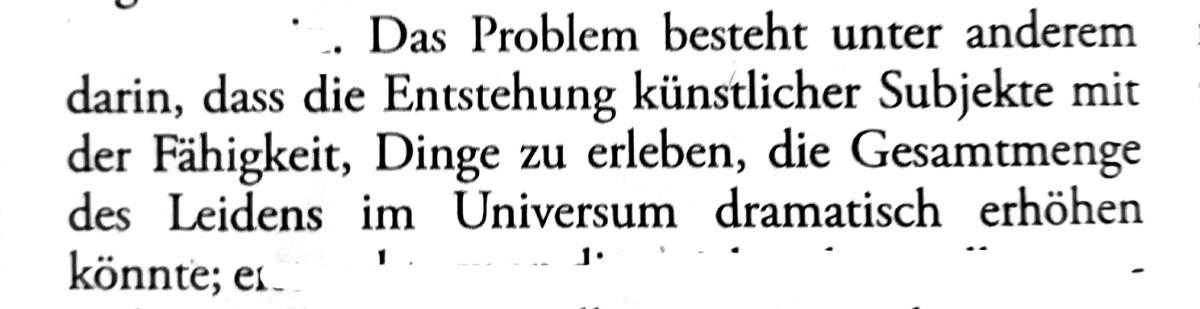 Das Problem besteht unter anderem darin, dass die Entstehung künstlicher Subjekte mit der Fähigkeit, Dinge zu erleben, die Gesamtmenge des Leidens im Universum dramatisch erhöhen könnte.
